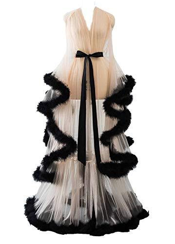 Changuan Sexy Illusion Long Lingerie Robe Nightgown Bathrobe Sleepwear Feather Bridal Robe Wedding Scarf Black-Champagne 3XL]()