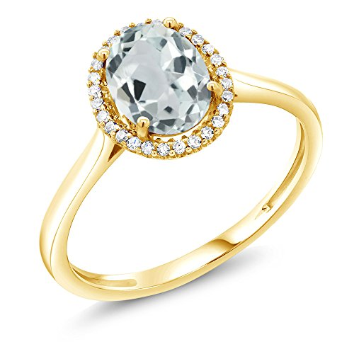 10K Yellow Gold Sky Blue Aquamarine and Diamond Women's Engagement Ring (1.10 Ctw Oval Available in size 5,6,7,8,9)