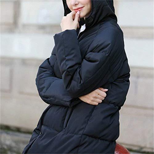Grazioso Piumino Cappotti Manica Colori Piumini Donna Addensare Eleganti Schwarz Solidi Moda Baggy Incappucciato Invernali Casuali Calda Lunga OX8nPk0Nw