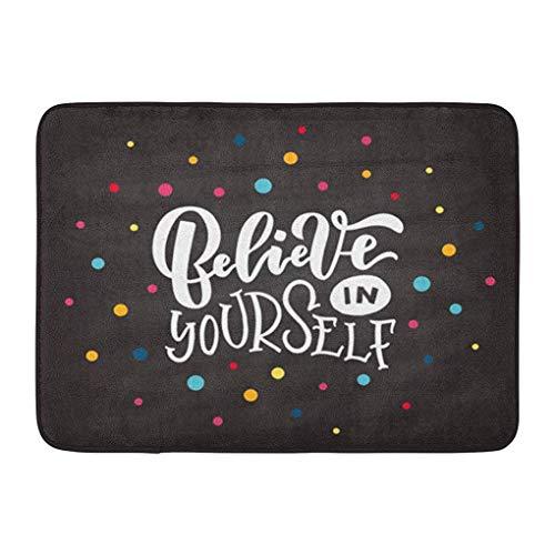 (YGUII Doormats Bath Rugs Outdoor/Indoor Door Mat Yellow Cool of Believe in Yourself Badge Tag Girl Boy Man Woman Lettering Inspirational Quote on Crown Bathroom Decor Rug Bath Mat 16X23.6in (40x60cm))