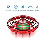 MuD-A Flying Ball Toy Drones,Hand Operated Drones for Kids or Adults - Scoot Flying Ball Drone,with 360°Rotating and Flashing LED Lights Mini Drone,for Boys and Girls, Kids Gifts (Red)