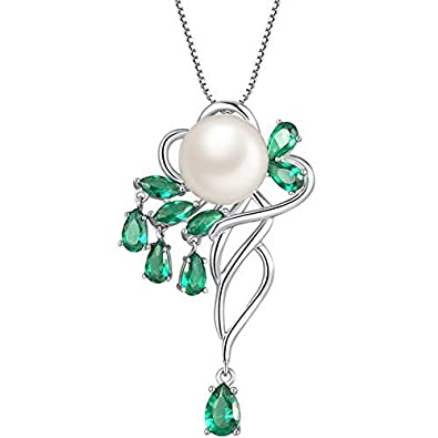 MABELLA Sterling Silver Genuine Cultured Freshwater 10mm AAA Pearl Pendant Marquise Simulated Emerald Necklace Fine Jewelry Mother s Day Gifts for Women
