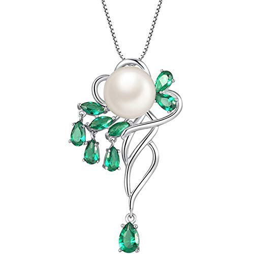 MABELLA Sterling Silver Genuine Cultured Freshwater 10mm AAA+ Pearl Pendant Marquise Simulated Emerald Necklace Fine Jewelry Mother's Day Gifts for Women