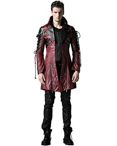 Punk Jacke Rave Poison Unisex Rot, Kunstleder, schwarz, Military Coat, Gothic, Steampunk