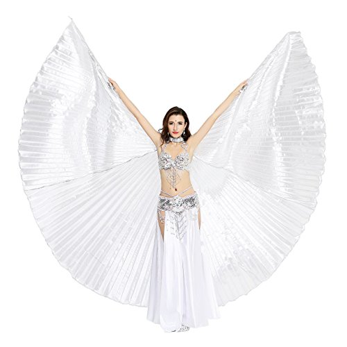 [Dance Fairy Exotic Belly Dance Isis Wings Costumes,Silver] (Disguise Costumes For Turkey)