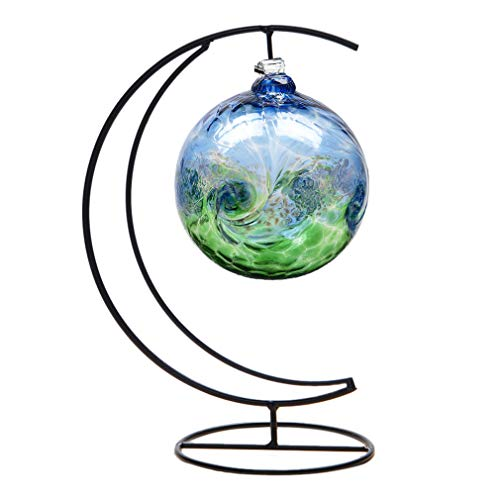 Ornament Display Stand,Iron Hanging Heart Shaped Stand Rack Holder Iron Pothook Stand Hanging Glass Globe Air Plant Terrarium Witch Ball Home Wedding Decoration (Black) (Black Ornament Stand)