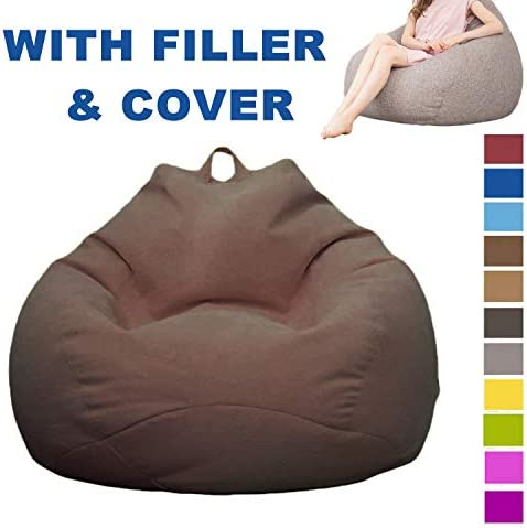 uhmhome Bean Bag Chair Memory Foam Furniture Bean Bag with Soft Micro Fiber Cover for Kids, Teens, Adults M, Dark Brown