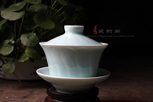 Handmade Celadon Green Pottery Gaiwan 6.7oz Teacups and Saucer Set Power Lotus Leaf(Sky Blue,1)