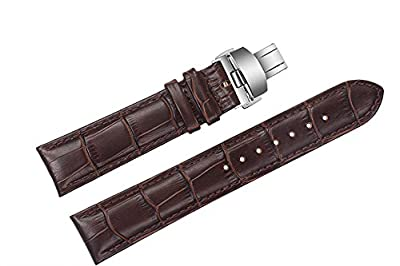 20mm Brown Luxury Replacement Leather Watch Straps/Bands Padded Crocodile Embossed with Deployment Double-Push Buckle