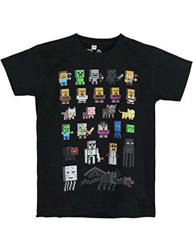 Official Minecraft Sprites Boy's Black T-Shirt (7-8 Years)