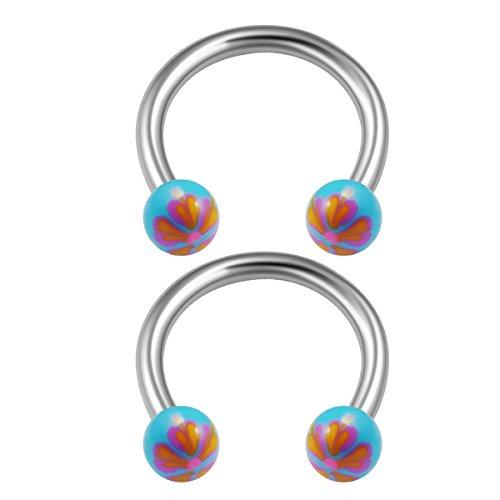Sky Blue Snake - 2PCS Surgical Steel Sky Blue 06 Horseshoe Earrings 16 gauge 5/16 8mm 3mm Ball Nose Earrings Cartilage Piercing Jewelry 1133