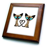 3dRose ft_110726_1 Siamese Cat Tail Heart-Framed Tile, 8 by 8-Inch