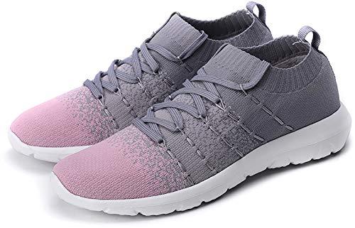 PresaNew Women's Athletic Walking Sneakers Lightweigh Casual Mesh Comfortable Walk Shoes Grey