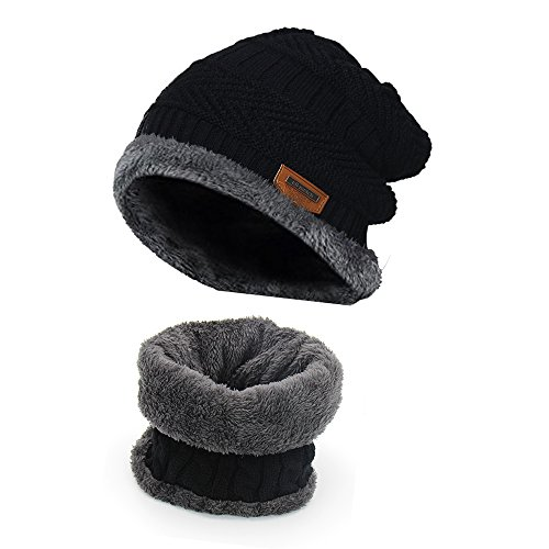 Holoway Winter Knit Hat Scarf Set, Warm Thick Knit Skull Cap For Men/Women
