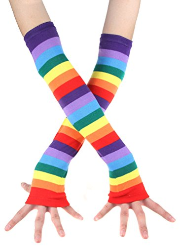 EachWell Women Girls Winter Rainbow Fingerless Mittens Gloves Arm Warmers