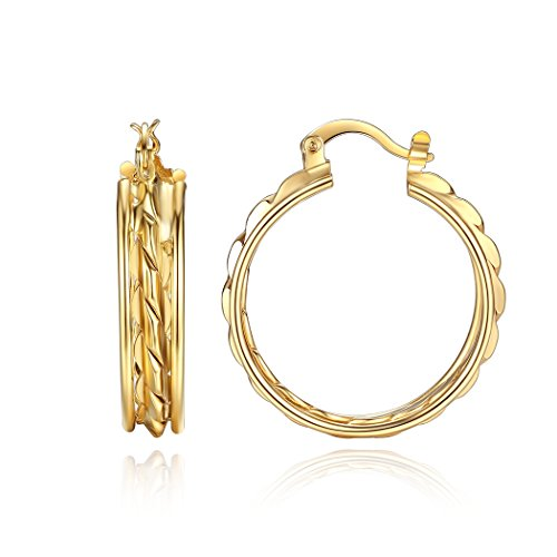 Orangelove 18K Gold Plated Womens Hoop Earrings Wedding Enagement Party Birthday Gift