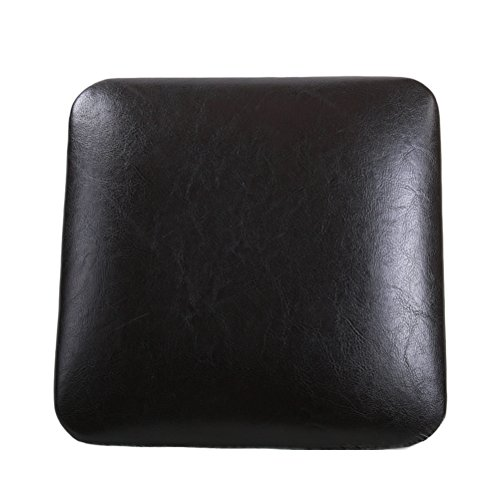 HAOBO Home Modern Industrial Square Seat Cushion for Metal Stool [Set of 4] Stackable for Indoor/Outdoor Extra Comfortable Easy Assemble and Removable, Fuax Leather Black Coffee