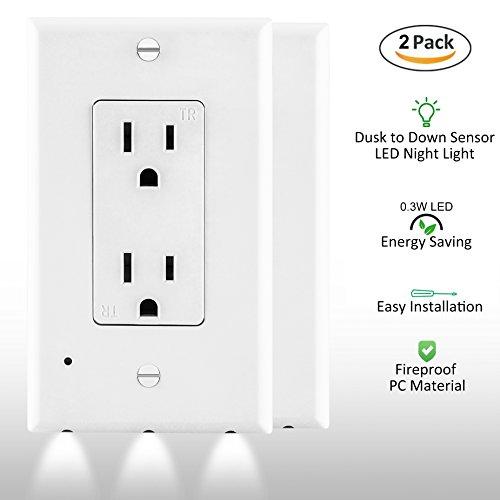 [2 Pack] ELECTEK Wall Plate LED Sensor Night Light for Décor Outlet, Easy Installation, White (Decor Outlet)