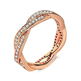 Qinlee Rose Gold Color 2 Rings Winding Together Stainless Steel Rhinestone Jewelry Never Faded for Women/Girl Gift -10
