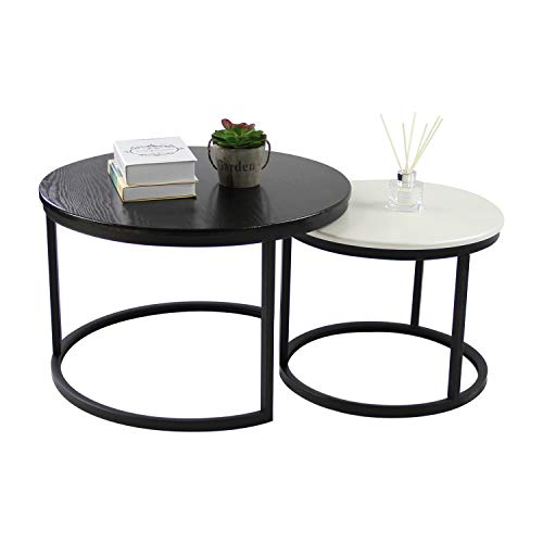 Jerry & Maggie - 2 Round Tea Table Coffee Table Desk Sets | Black & White Twin Sets - Multi Function Wood & Steel Living Room Home Decor Sets Polished Surface Overlapping Ending Tables Cocktail Table