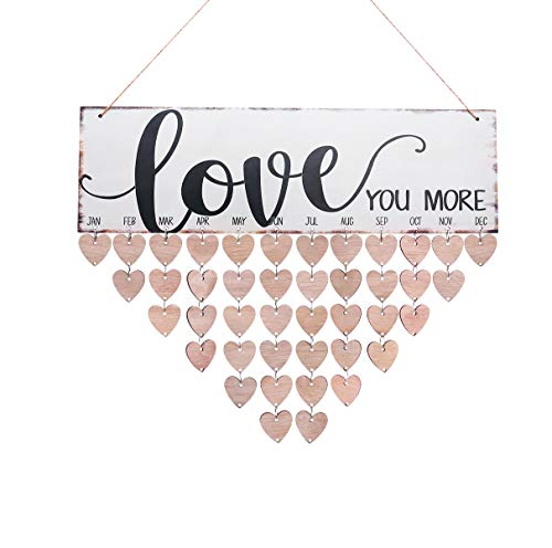 WINOMO Family Birthday Board Plaque DIY Hanging Wooden Birthday Reminder Calendar with 50pcs Wooden Hearts