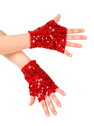 Adult Sequin Mitts N7303RED Red One-Size