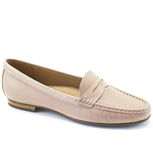 Driver Club USA Women's Genuine Leather Made in Brazil Greenwich Loafer Nude Napa/Patent Trim