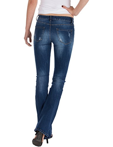 cut Fraternel used Vaqueros Pantalones bota corte boot Azul mujer 0z16prqz