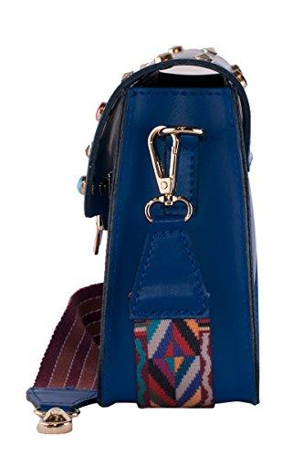 by x Sac bleu électrique 17 x 21 à 7 BORDERLINE Denis Palbiani 5 cm pour femme main 4gtwzRqWzd