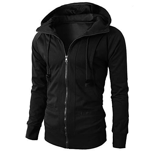 (Men Hoodie Pullover, Beautyfine Male Autumn Winter Jacket Long Sleeve Zipper Blouse Sport Tops Black)
