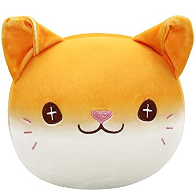 Auspicious beginning Stuffed Animal Bread Cat Plush Toy Anime Kawaii Super Soft Throw Pillow Kitty Doll, Cute Round Chubby Buddy Gifts for Boys Girls: Home & Kitchen