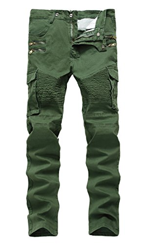 Men's Army Green Moto Biker Jeans Distressed Slim Zipper Skinny Denim Jeans,W36,Army Green