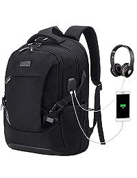 Tzowla Travel Laptop Backpack, Waterproof Business Work Backpack with USB Charging Port & Headphone Port for Men Women Durable Netbook Computer Backpack Bag Fits 17-Inch Laptop Notebook (Black)