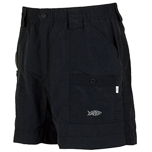 AFTCO Bluewater M01L Long Traditional Fishing Shorts - Black - 34