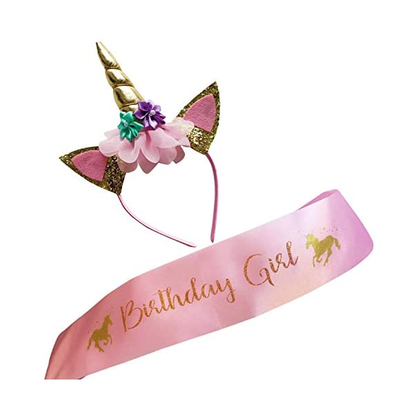 Marvs Store Unicorn Birthday Girl Set of Gold Glitter Unicorn Headband and Pink Satin Sash for Girls with eBook included… 3