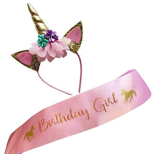 Marvs Store Unicorn Birthday Girl Set of Gold Glitter Unicorn Headband and Pink Satin Sash for Girls with eBook Included,Happy Birthday Unicorn Party Supplies, Favors and Decorations - 2019 -