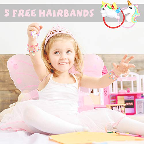 LovesTown Toddler Bracelets rings Set,Pretend Play Bracelet Little Girl Animal Bracelets Pretend Play Bracelet for Birthday Gift Dress Up Game Props