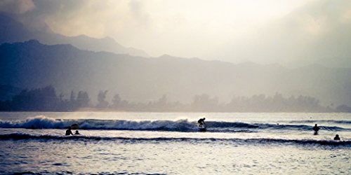 Hanalei Bay Surf - Surfing Hanalei - Surf Photography, Hawaii (5x10, 10x20, 12x24, or 15x30) Print on Paper or Canvas - Wall Art
