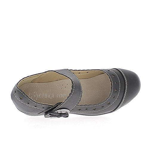 ... ChaussMoi Zapatos Negro de ALA Ancha DE 4 cm de Tacón de Confort ... a34a84c59af3