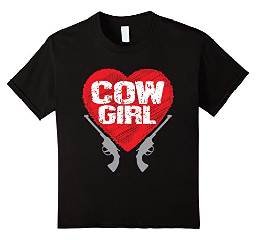 Kids Cow Girl T Shirt - Cute western southern cowgirl outfit tee 6 Black