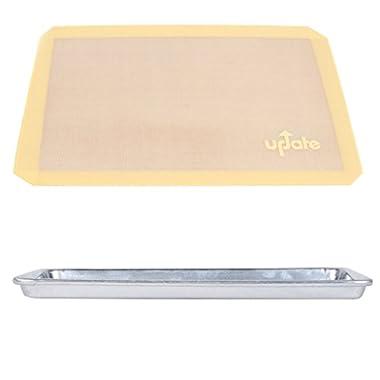 Update Professional Grade Silicone Baking Mat with Baker's Mark Aluminum Pan, Half Sheet Pan Size