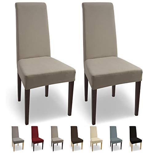 SCHEFFLER-Home Natalie 2 Fundas de sillas, Estirable Cubiertas, Algodon extraible Funda con Banda elastica, Beige