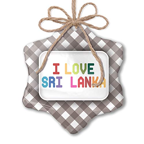 NEONBLOND Christmas Ornament I Love Sri Lanka,Colorful Grey White Black Plaid