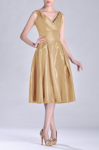 Dress V Pleated neck Modest Taffeta Length Tea Bridesmaid line Formal champagnerfarben bridesmaids A xS6APq