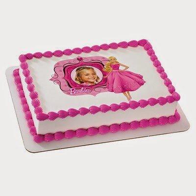 1/4 Sheet Cake - Barbie Fabulous in Pink- Edible Photo Frame Cake Topper - D10006