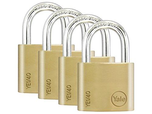 Yale Locks YE1 Brass Padlock 40mm (4 Pack) by Yale Locks