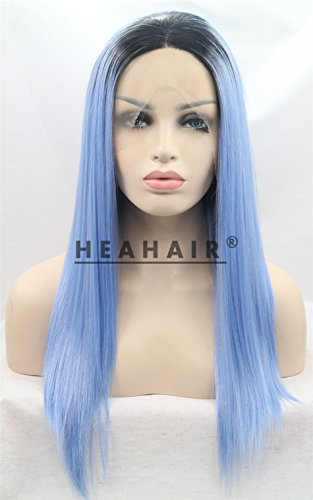 Heahair24 Inches Long Ombre Dark Root Blue Violet Straight Handtied Synthetic Lace front Wig for
