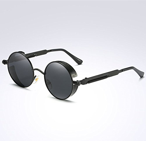 Gafas vintage la de para Ceniza Negra sol UV400 Steampunk Round de y Circle Unisex BAINASIQI Gafas Diseño mujeres Sol Polarizadas marca de hombres qYPFxzw