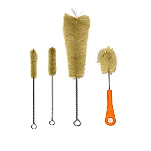 Houseables Bottle Brush & Pipe Cleaner Set, Bong Scrubber, 9 Pieces, Nylon, Natural & Synthetic Bristles, Small, Long, Soft, Stiff, Cleaning for Water Tubes, Straws, Hookah, Canning Jars, Bird Feeder