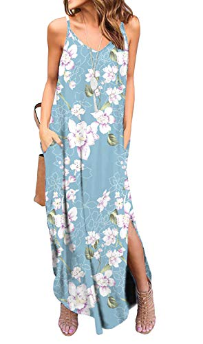 - GRECERELLE Women's Summer Casual Loose Dress Spaghetti Strap Beach Cover Up Long Cami Floral Print Casual Maxi Dresses with Pocket FP Light Blue-2XL